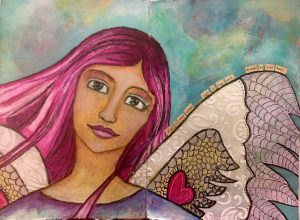 """Art Journal Angel"" Mixed Media"