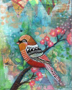 spring bird mixed media piece