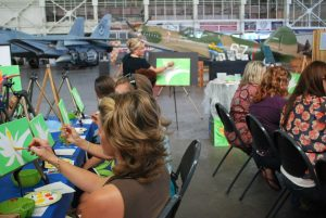 Mai Tais and Monet sesion painting military planes