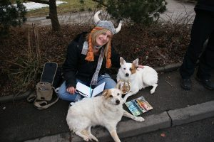 Me and our dogs hanging out on the sidewalk for the annual Fasching Parade (like Halloween but in the Spring)