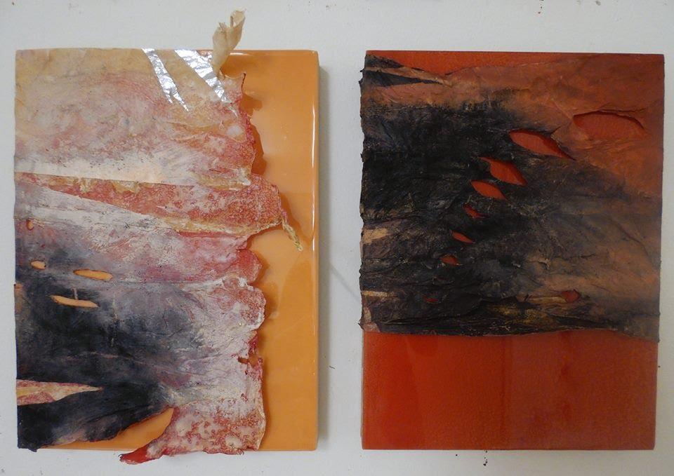 Cover, 2015 Acrylic on gutskin on resin board